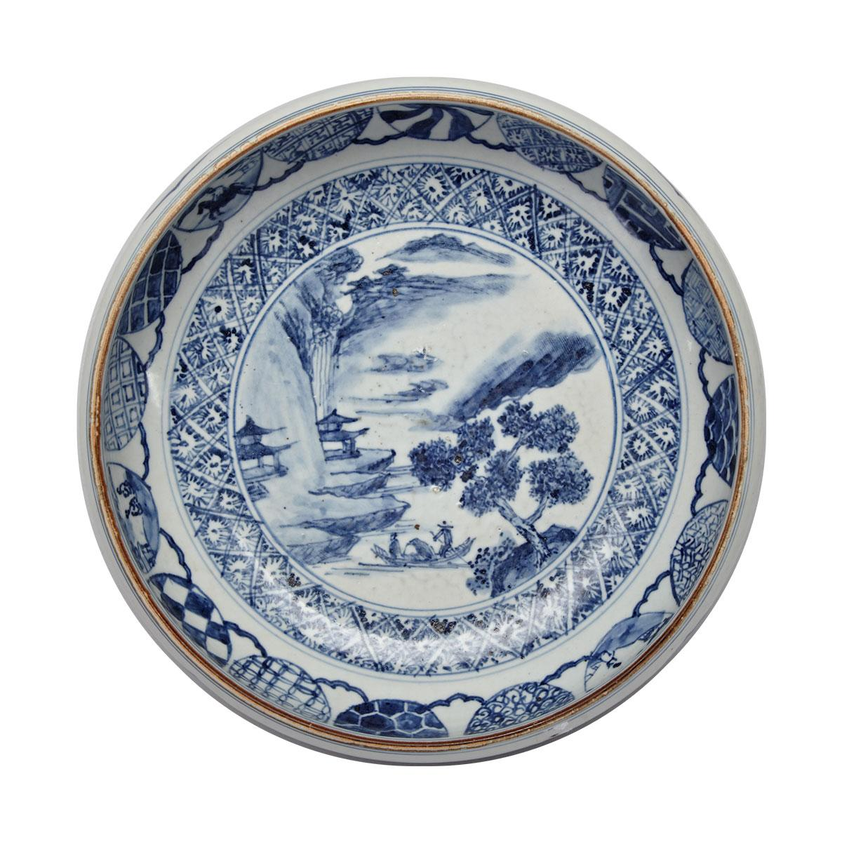 Blue and White Landscape Bowl, 19th Century