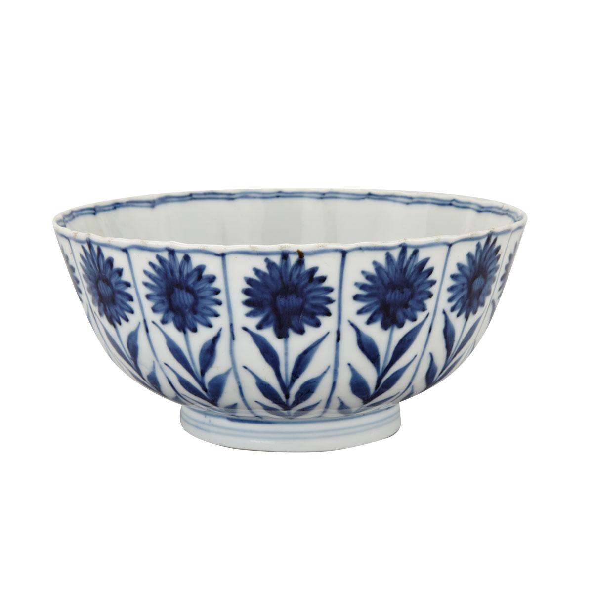 Export Blue and White Lobed Floral Bowl, Kangxi Period (1662-1722)