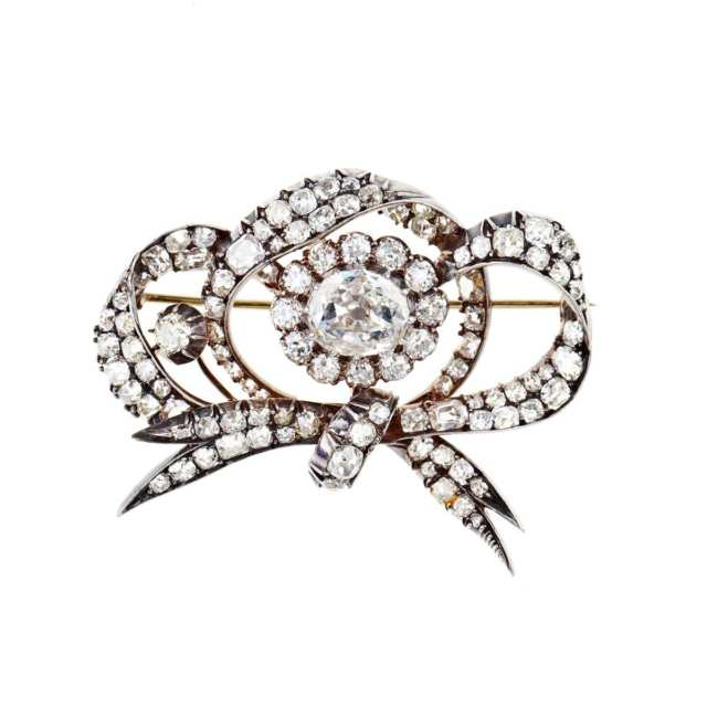 19th Century 15k Yellow Gold And Silver Bow Brooch