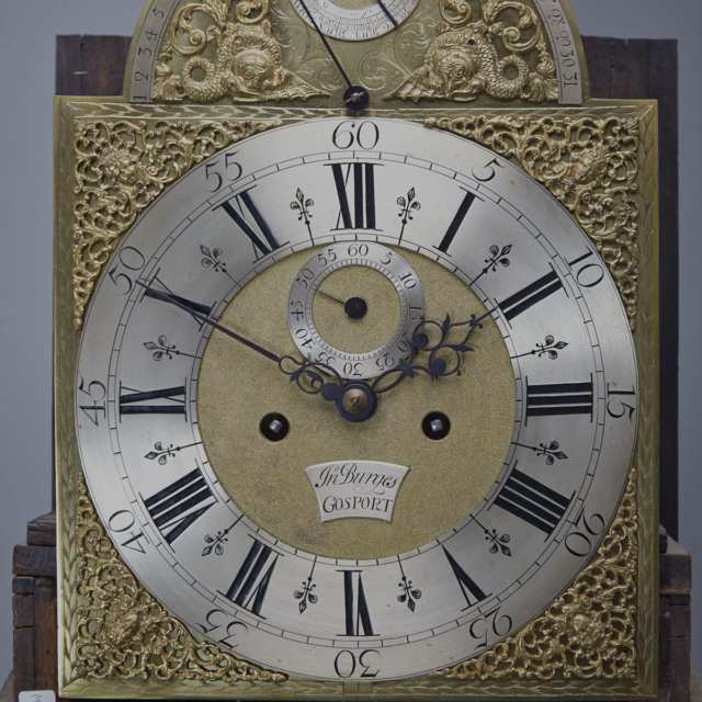 George III Black Japanned Tall case Clock with Equation of Time, John Burges, Gosport, c.1780