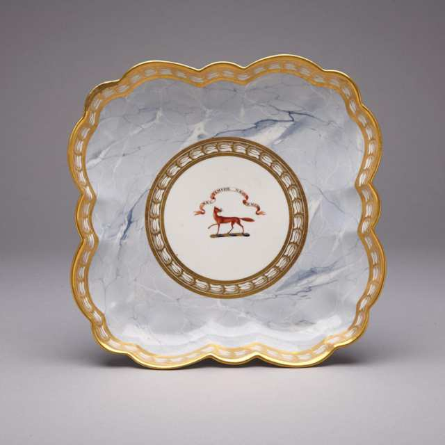 Barr, Flight & Barr Worcester Grey Marbled Ground Armorial Square Dish, c.1804-13