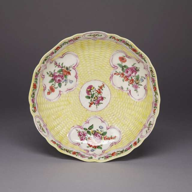 Worcester Yellow Ground Moulded Basketweave Junket Dish, c.1765-70
