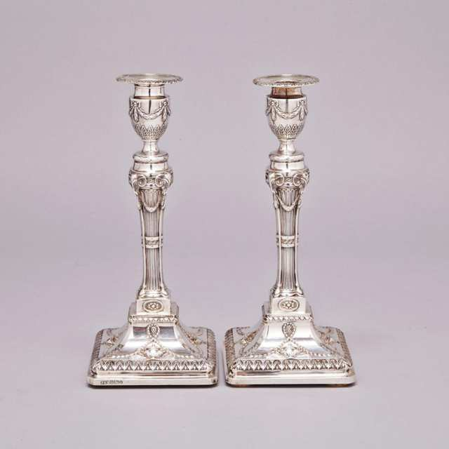 Pair of Victorian Silver Table Candlesticks. Hawkesworth, Eyre & Co., Sheffield, 1890