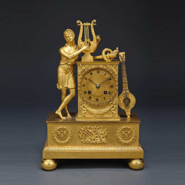 French Empire Gilt Bronze figural mantle clock, early 19th century