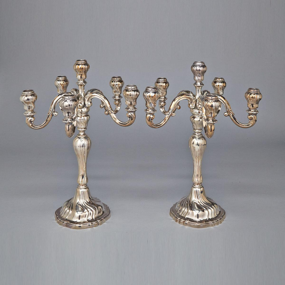 Pair of German Silver Six-Light Candelabra, Jakob Grimminger, Schwäbisch Gmünd, 20th century
