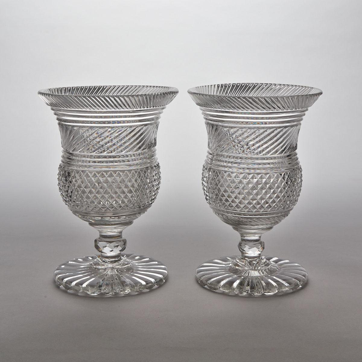Pair of Anglo-Irish Cut Glass Vases, early 19th century