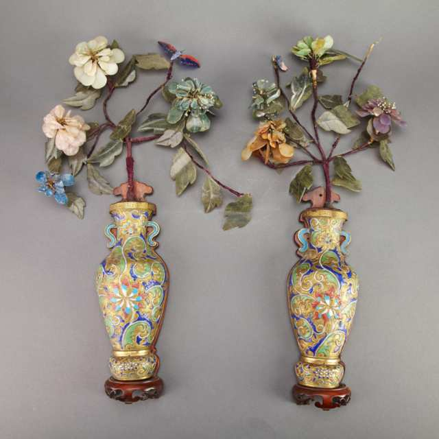 Pair of Cloisonné Enamel and Hardstone Wall Vases