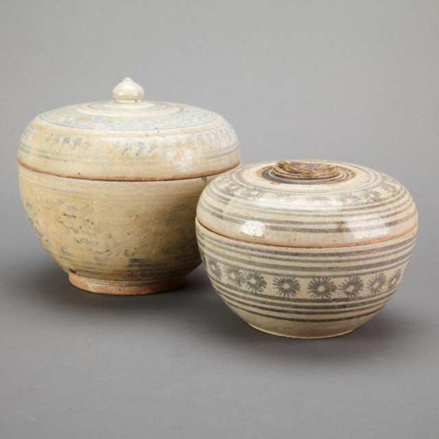 Pair of Large Sawankhalok Covered Boxes, 15th to 17th Century, Thailand