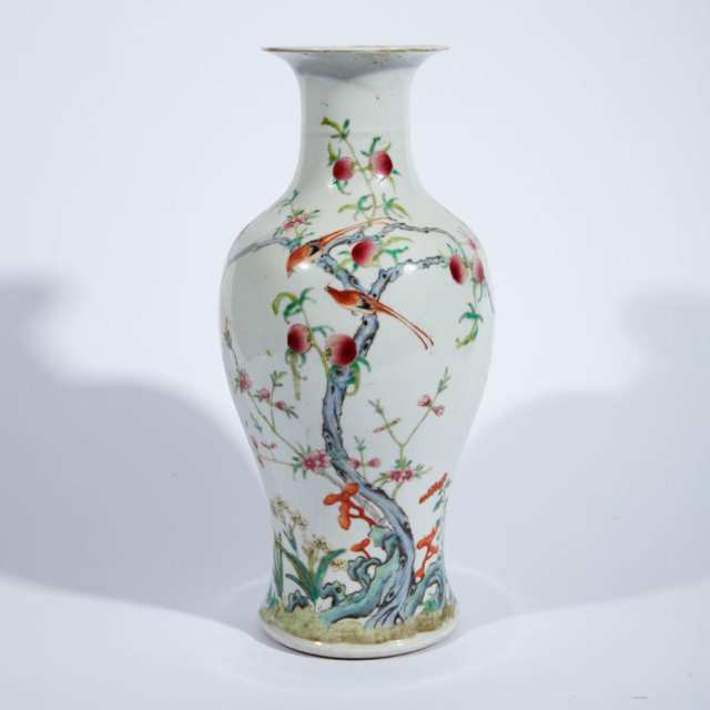 Famille Rose 'Bird and Peach' Baluster Vase