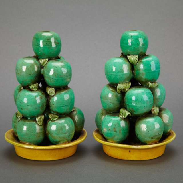 Pair of Export Biscuit Fired Fruit Groups, 19th Century