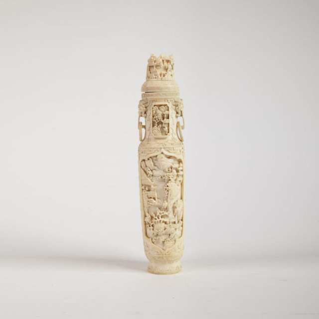 Ivory Carved Vase and Cover, Early 20th Century