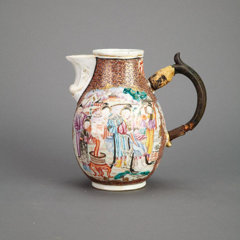 Finely Painted Export Mandarin Rose Jug, 18th Century