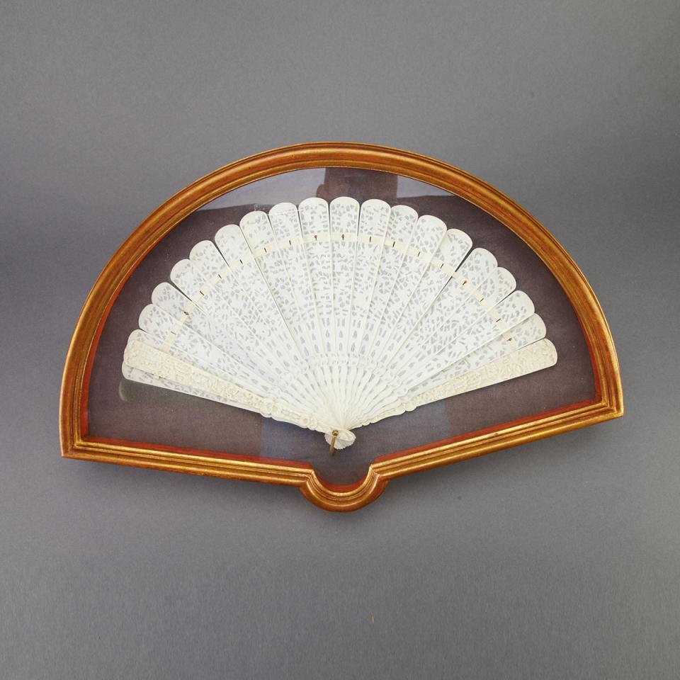Export Ivory Carved Fan, Late 19th Century