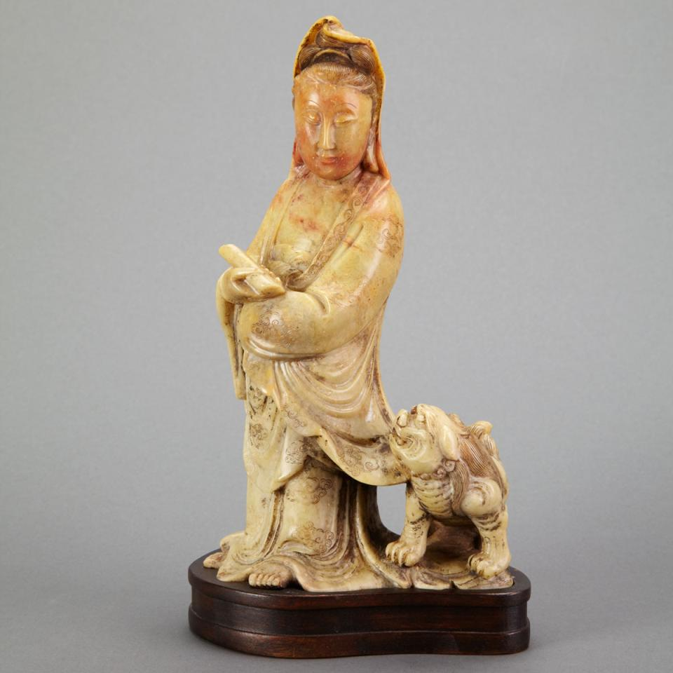 Soapstone Carving of Guanyin, Late Qing Dynasty
