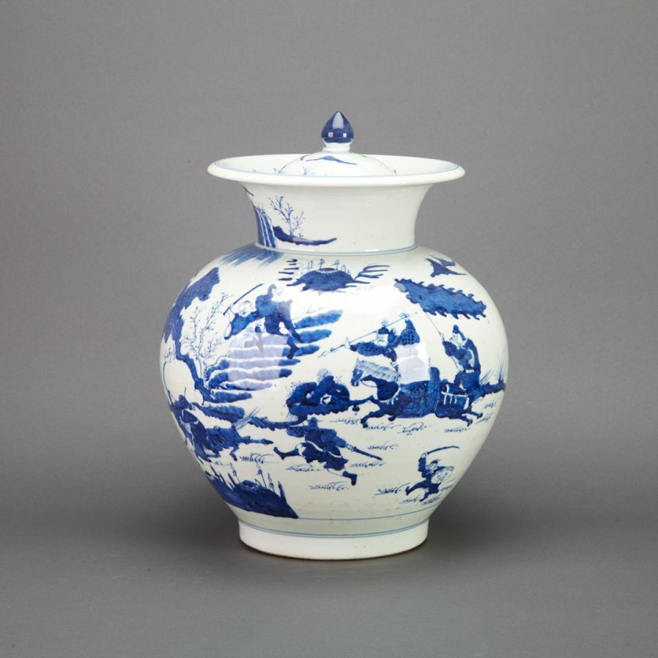 Large Blue and White Covered Jar