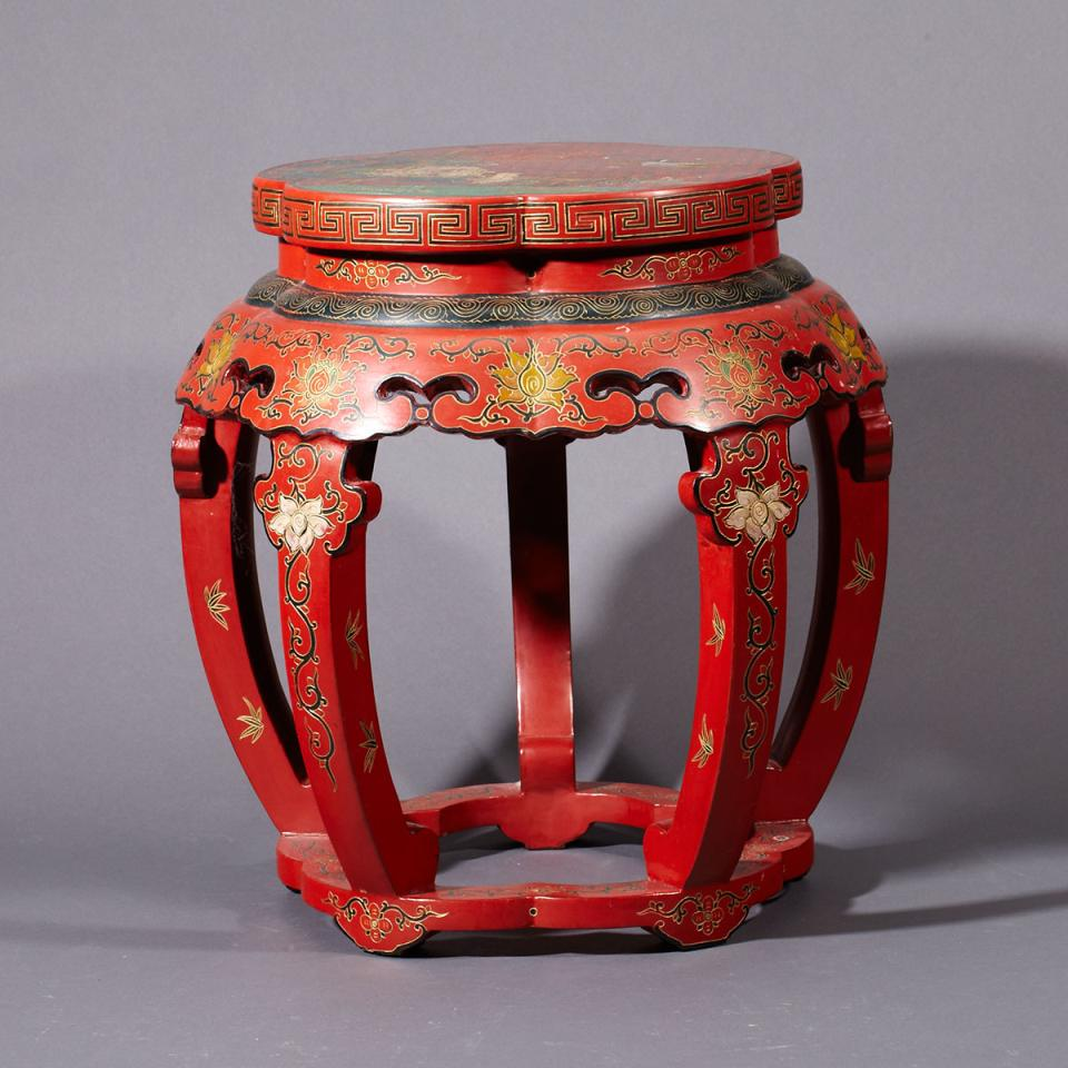 Red Lacquer Stool, Early 20th Century