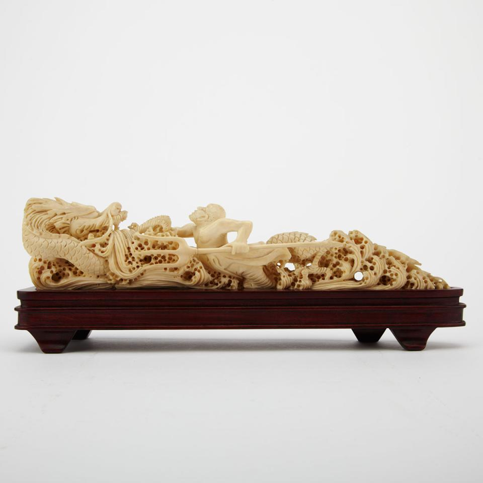 Ivory Carved Dragon and Figural Group