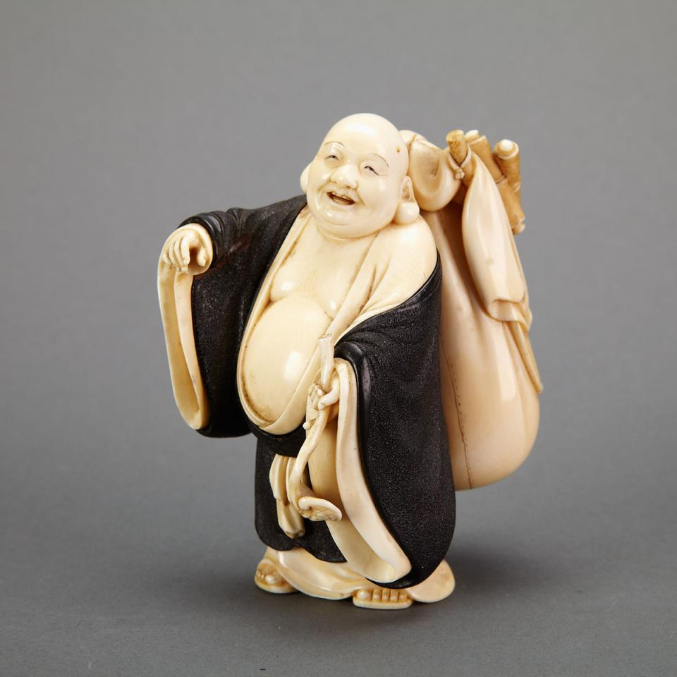 Ivory Carved and Lacquered Okimono of Hotei, Signed Shoko, Circa 1900