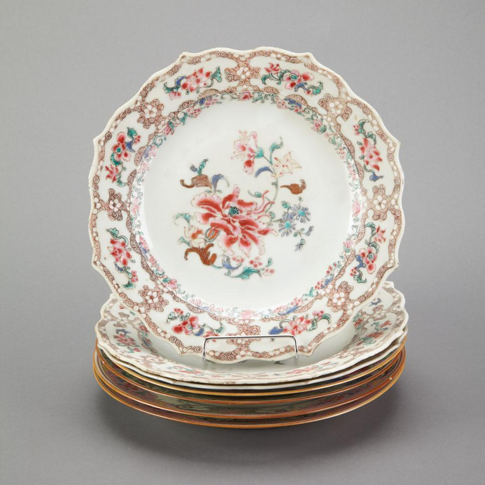 Seven Export Famille Rose Floral Plates, 18th Century
