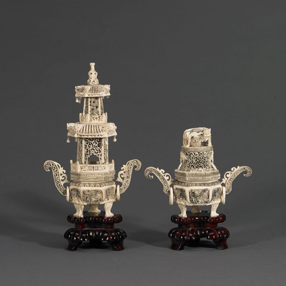 Pair of Ivory Carved Tripod Incense Burners