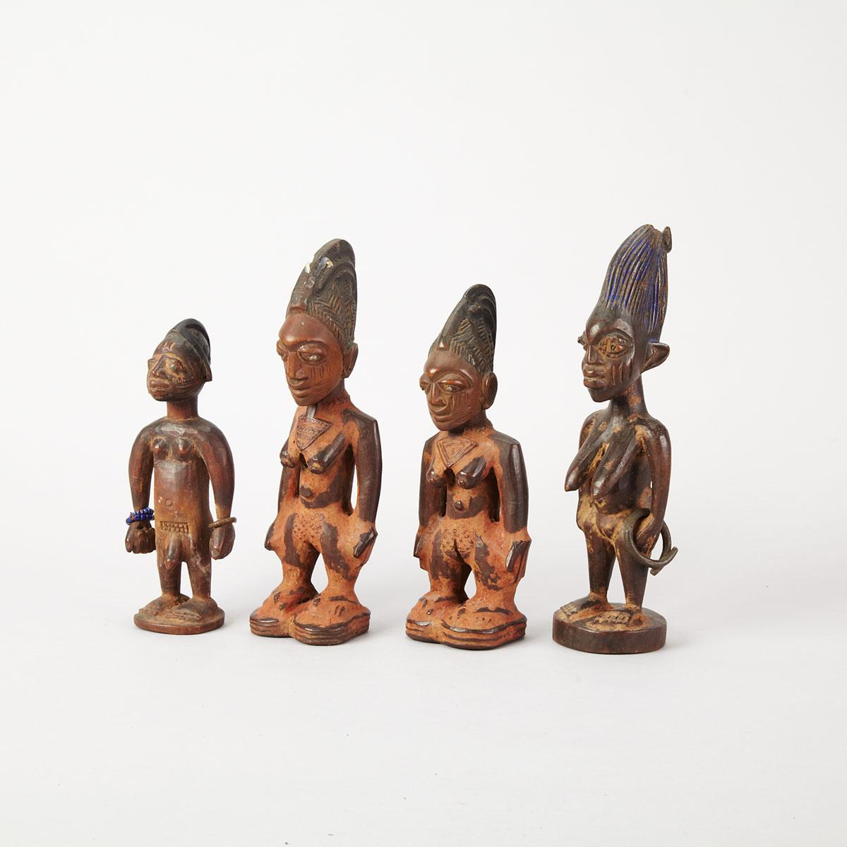 Group of Three Yoruba Female Figures, Nigeria
