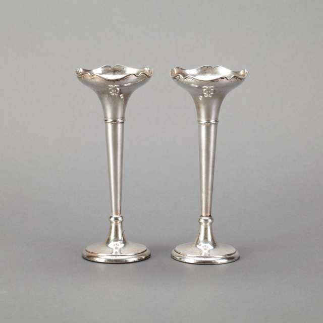 Pair of English Silver Bud Vases, Birmingham, 1913