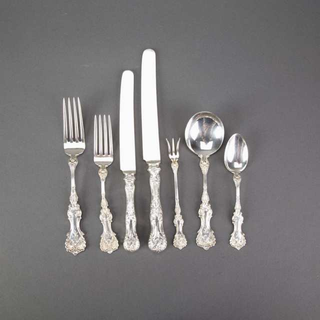 American Silver 'Pompadour' Pattern Flatware Service, Whiting Mfg. Co., New York, N.Y., early 20th century