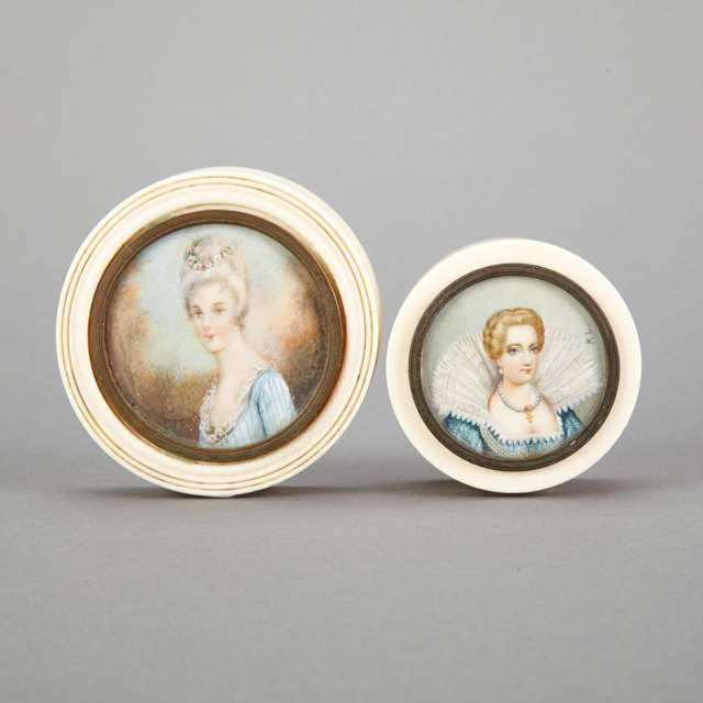Two French Ivory Portrait Miniature Patch Boxes, early 20th century