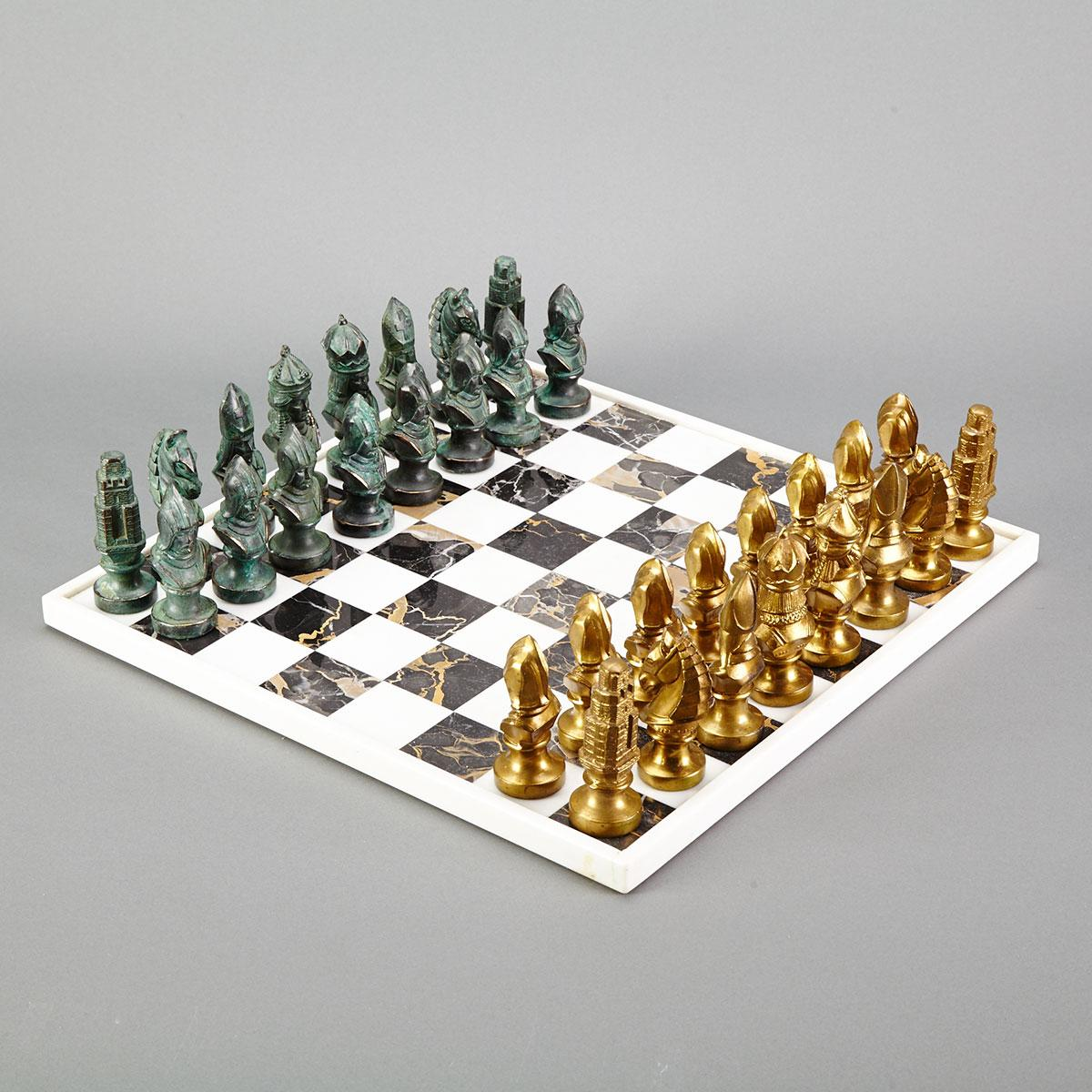 Italian Gilt and Bronze Patinated Metal Chess Set, c.1960