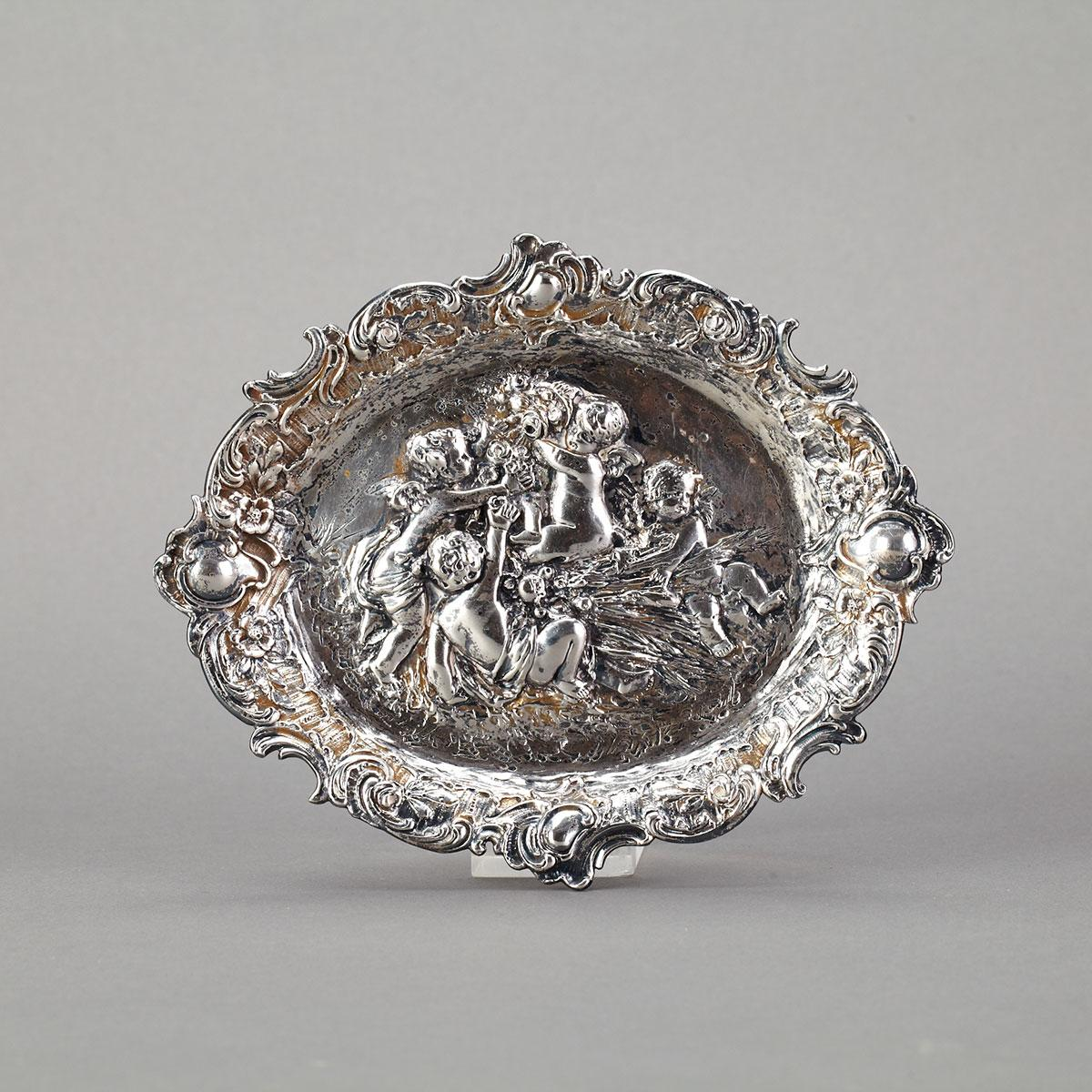 German Silver Small Oval Tray, c.1900