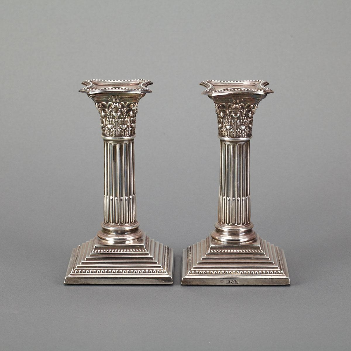 Pair of Edwardian Silver Corinthian Columnar Candlesticks, George Maudsley & David Fullerton, London, 1903