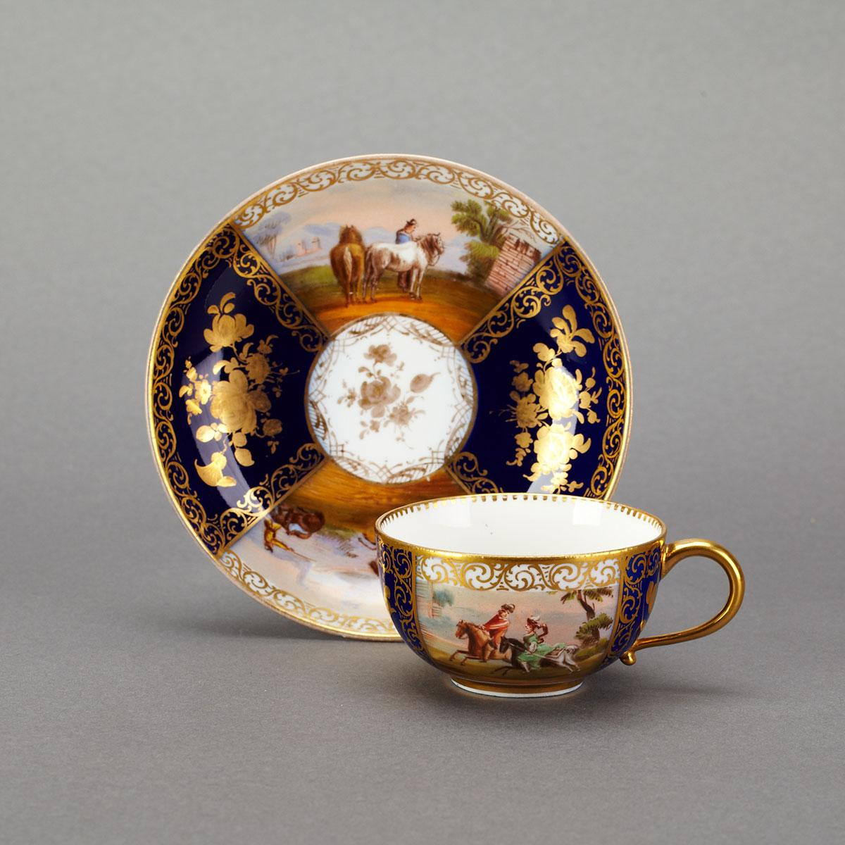 Meissen Blue Ground Cup and Saucer, late 19th century