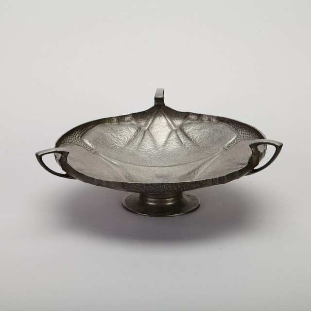 William Hutton & Sons English Hammered Pewter Tazza, c.1900