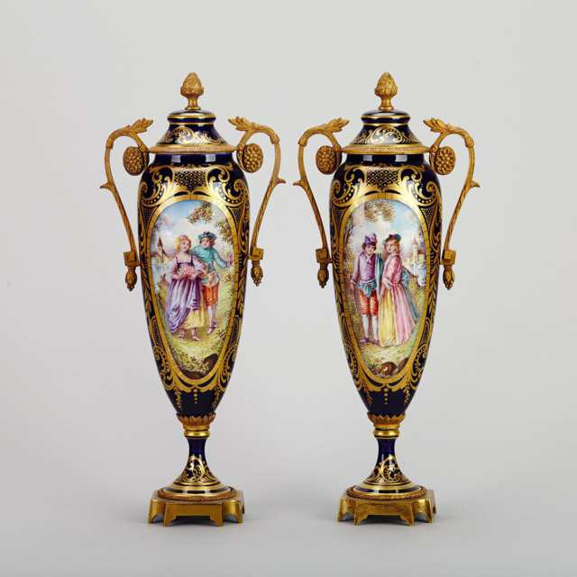 Pair of Ormolu Mounted 'Sèvres' Mantle Urns, early 20th century