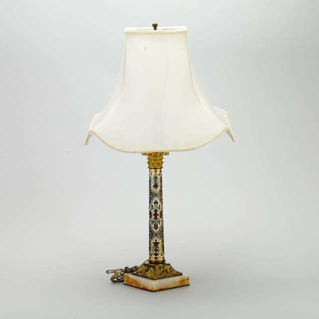 French Ormolu Mounted Champleve Enamelled Column Form Table Lamp, early 20th century
