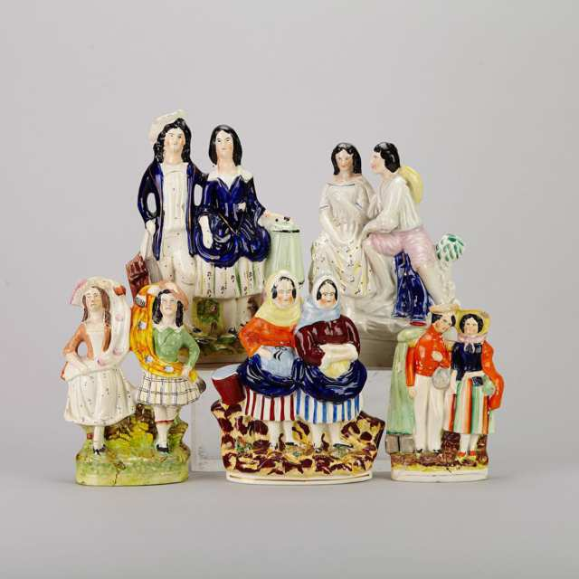 Five Various Staffordshire Figure Groups, 19th century
