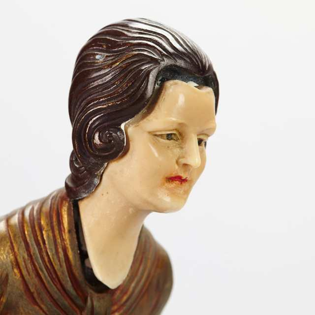 French Art Deco Patinated Metal, Onyx and Marble Figural Mantle Group, c.1925