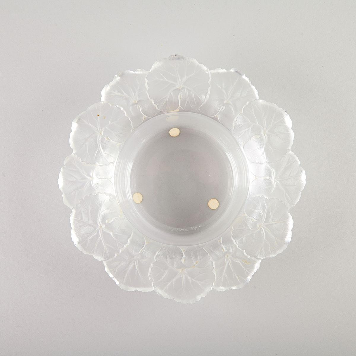 'Honfleur', Lalique Moulded and Partly Frosted Glass Bowl, post-1960