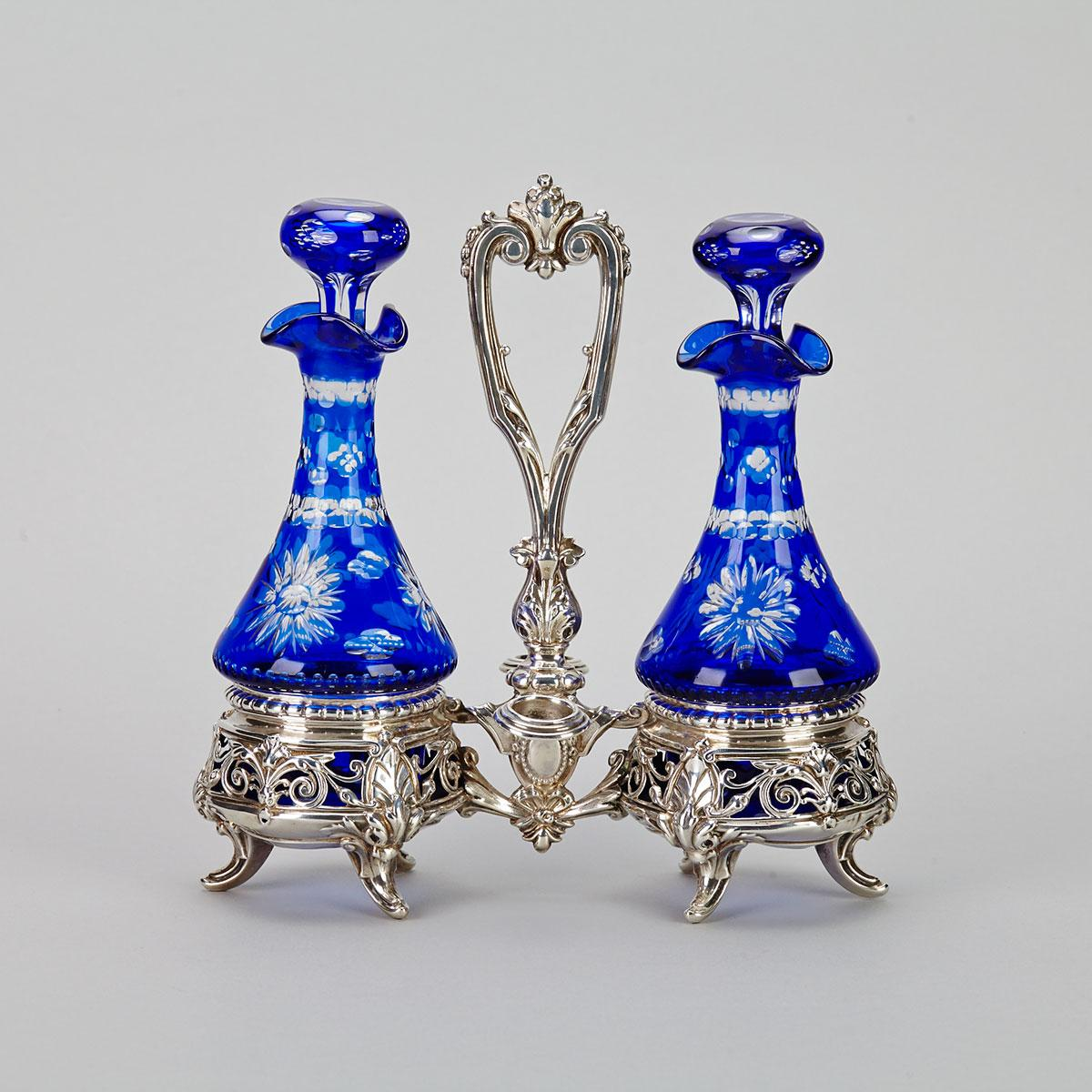 French Silver and Blue Glass Cruet, c.1870