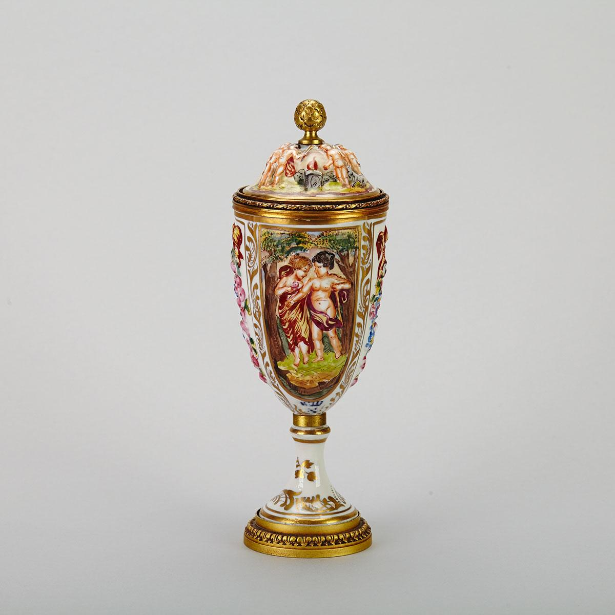 French Gilt Bronze Mounted 'Naples' Covered Urn, early 20th century