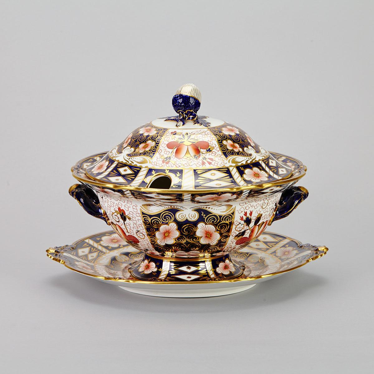 Royal Crown Derby 'Imari' (2451) Pattern Soup Tureen, Cover and Stand, 1948