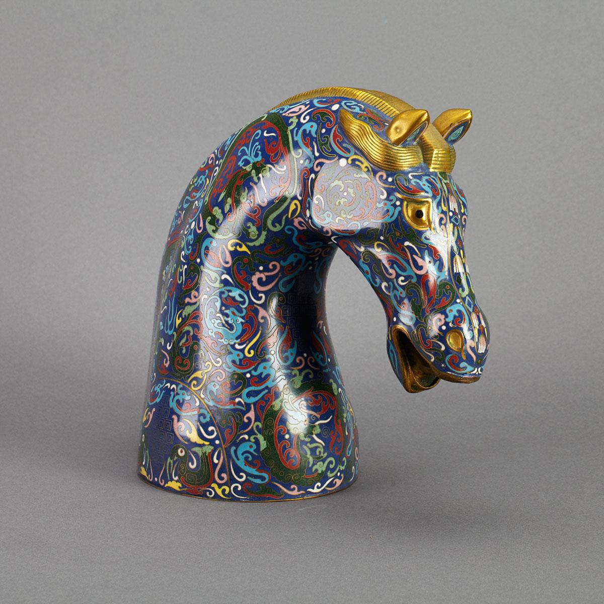 Chinese Parcel Gilt and Cloisonné Enamel Head of a Horse, 20th Century
