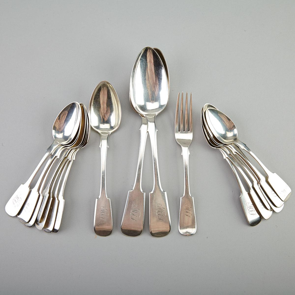 Thirteen Canadian Silver Fiddle Pattern Tea Spoons, Dessert Spoon and Fork and Pair of Table Spoons, Joseph Robinson & Co., Toronto, Ont., c.1865-70