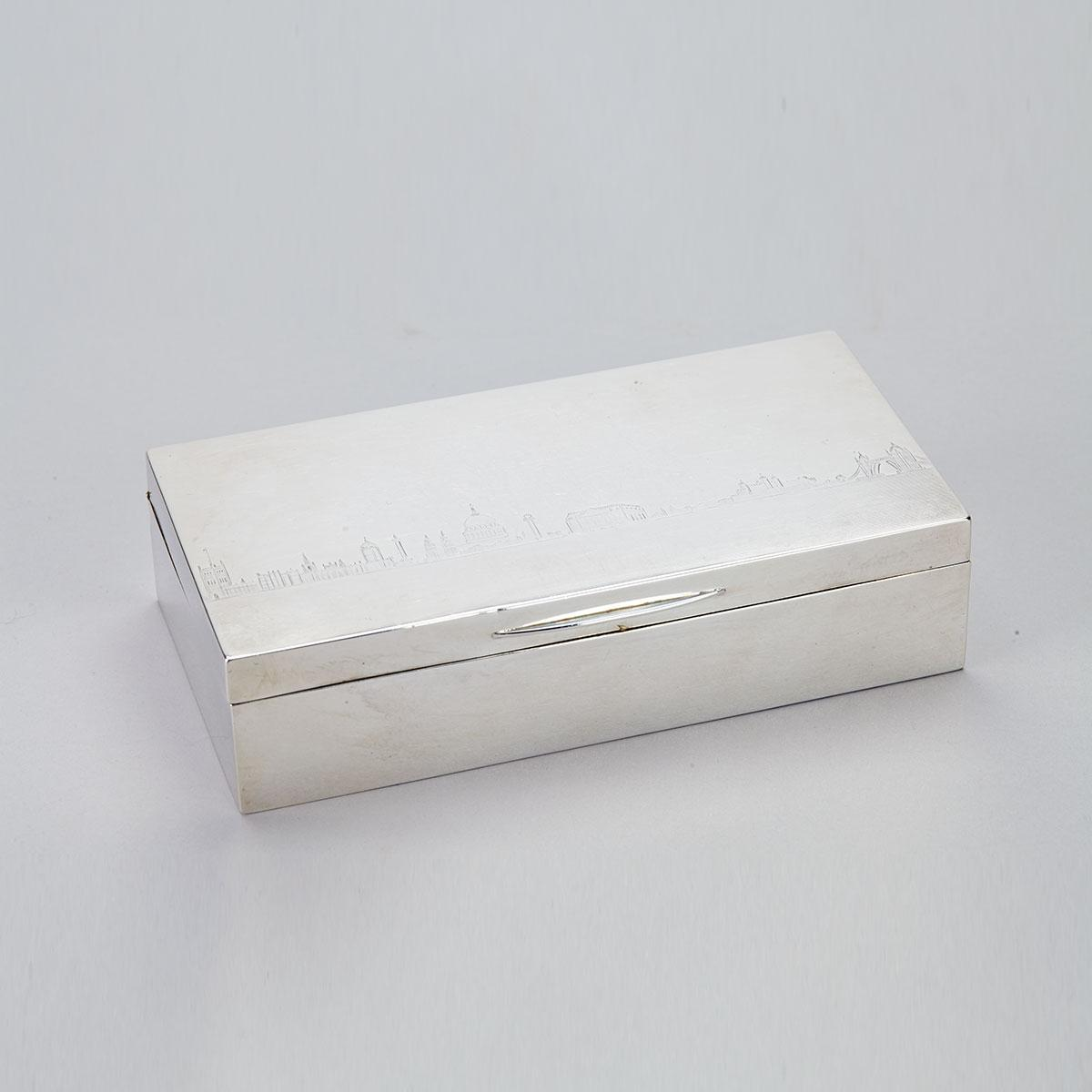 English Silver Table Cigarette Box, Mappin & Webb, London, 1936