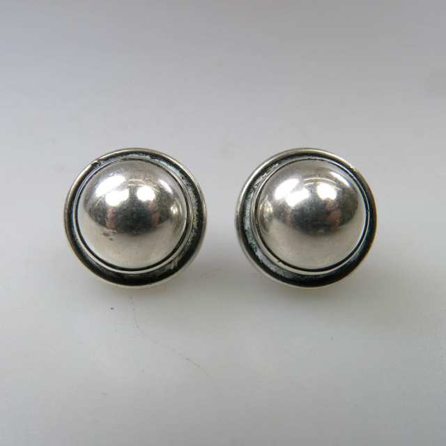 Pair Of Georg Jensen Danish Sterling Silver Button Earrings