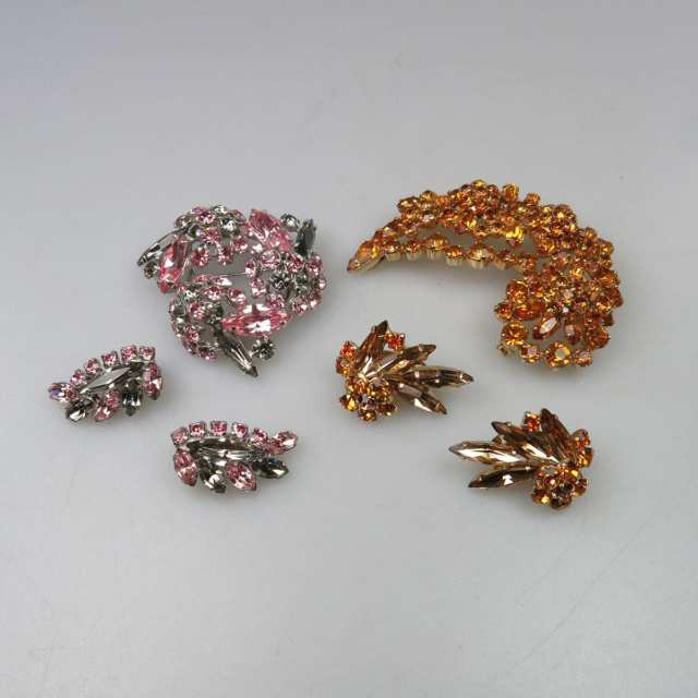 Two Sherman Metal Brooch And Earring Suites
