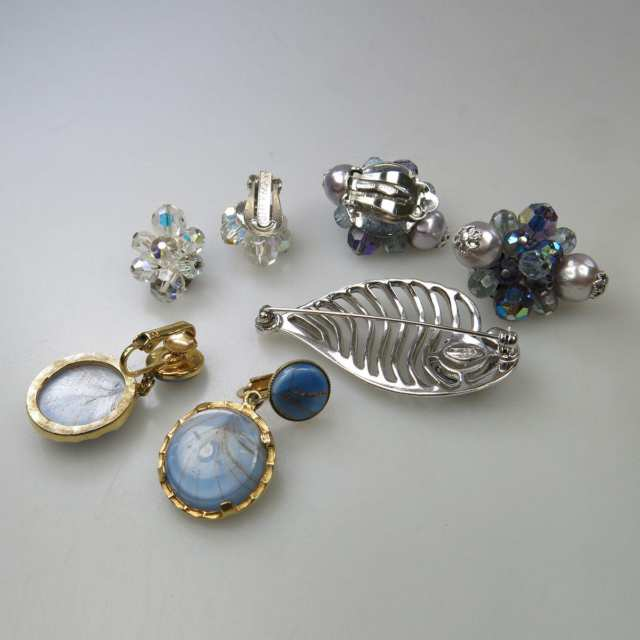 3 Various Pairs Of Sherman Metal Earrings And A Sherman Silver-Tone Metal Brooch