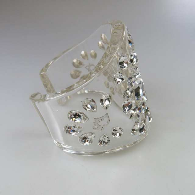 Christian Dior Clear Lucite Open Cuff Bangle