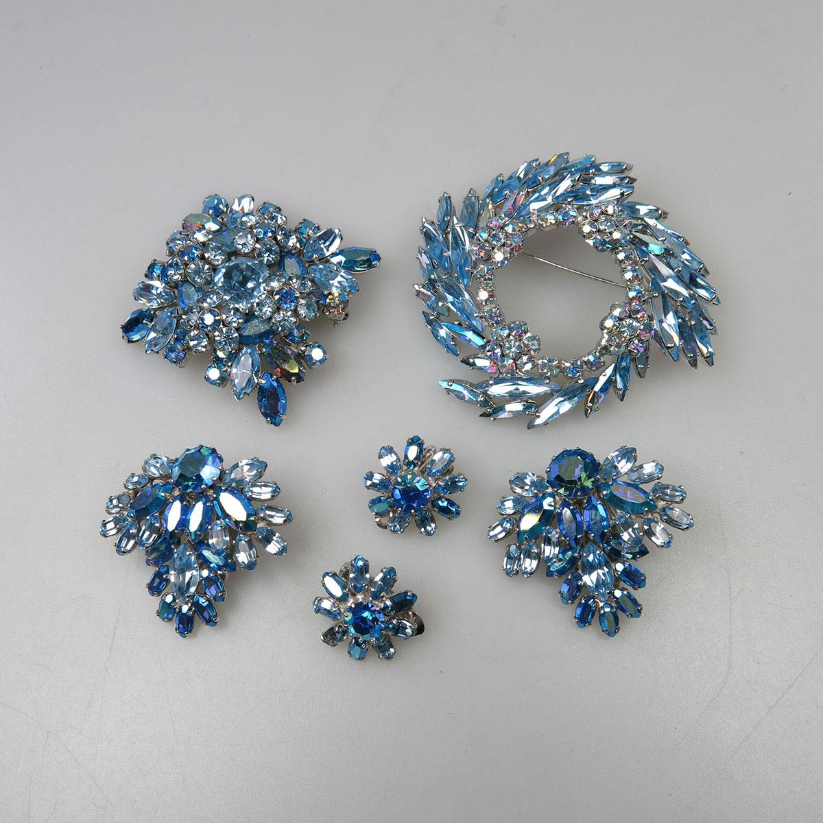 Two Sherman Silver-Tone Metal Brooch And Earring Suites