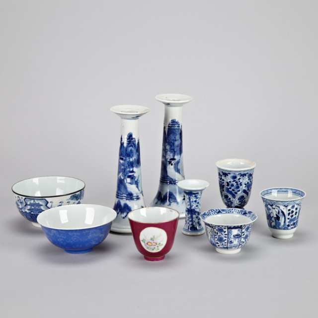 Group of Nine Chinese Porcelain Items, 17th to Early 20th Century